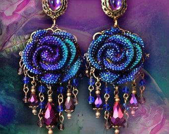 "Sparkly Electric Blue & Purple Rhinestone Rose Earrings, 4"" Crystal Fantasy Jewelry, Large Flowers, Silver or Bronze Dangle Earrings, Pretty"