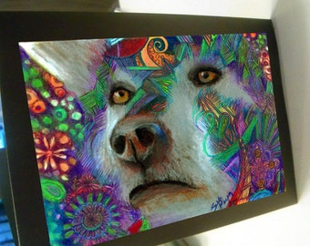 Greeting card print of original art- colorful wise wolf Zentangle