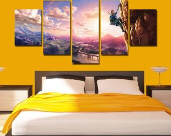 The Legend Of Zelda Breath Of The Wild Canvas Zelda Poster Zelda Print Wall  Decor Wall