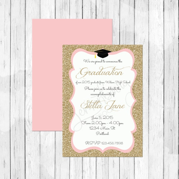 Items similar to gold glitter and pink graduation invitation or items similar to gold glitter and pink graduation invitation or evite graduation announcement she leaves a little sparkle wherever she goes on etsy filmwisefo Images
