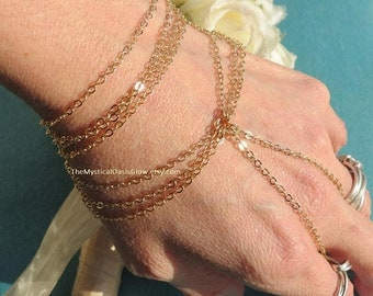 Gold plated hand chain bracelet jewelry, gold slave bracelet, body jewelry, hand bracelet with chain ring attached, chain ring bracelet