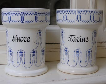 French Vintage ART DECO Porcelain Set of 2 Kitchen Storage Jars / ceramics stoneware