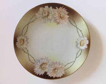 RS TILLOWITZ Silesia Prussian Pink Chrysanthemum Antique Plate