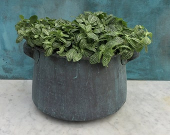Heavy verdigris copper pot