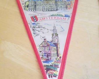 Rare Vintage Amsterdam Souvenir Pennant Flag