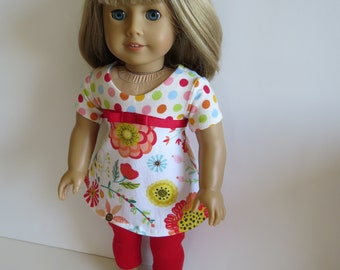 """Made To Fit Like American Girl Doll Clothes; 18"""" Doll Leggings with Cotton Knit Dress; Dress for American Girl Doll"""