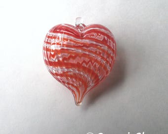 Red White Stripe Heart Ornament : DISASTER RELIEF