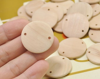 10pcs 30mm Natural Round Flat Wood Connector,Wood beads,Wood Circles Wooden discs Unfinished round disk Bead,two hole,jewelry making