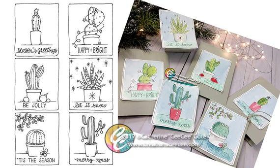 druckbare Malvorlagen Weihnachten-Kaktus-minis