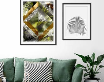 Tropical Print. Tropical Picture. Geometric Print. Tropical Art. Tropical Painting. Tropical Leaves. Palm Leaves. Green Lili