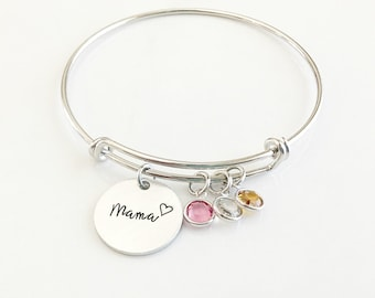 Mom Birthstone Charm Bracelet - Birthstone Jewelry for Mom - Mom Bracelet with Kids Birthstones - Christmas Gift for Mom
