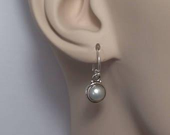 Tiny pearl earrings; 92.5 sterling silver, boho, freshwater pearls