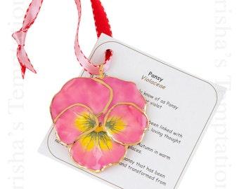 Pink Real Pansy Ornament - Christmas Gifts - Secret Santa - Christmas Ornaments - Presents - Just Because - Mom
