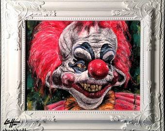 Killer Klowns From Outer Space - Original Drawing - Horror Comedy Dark Art Pop Lowbrow art Sci Fi Halloween Monster Circus Clowns Scary