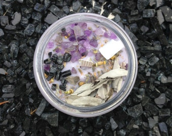 SACRED SMUDGE / Black Tourmaline, Amethyst, Sage, & Selenite / Sanctuary Candle / Crystal Candle / Ritual Candle / Crystal Activated Candle