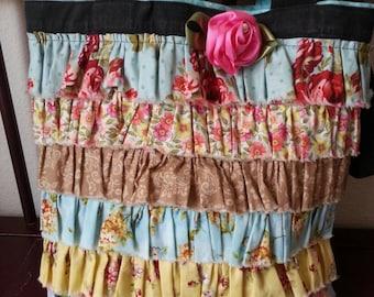 Canvas Tote *Upcycled* to a Stylish Shabby Chic Handbag