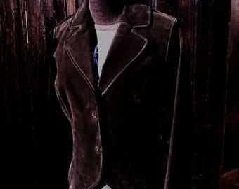 Petite Small Black Suede Jacket Stevie Gypsy Nicks Coat  Boho Blazer ~ 1980's  black suede leather jacket size small