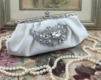 Ivory Satin Bridal Wedding Evening Clutch Purse Bag Crescent Brooch
