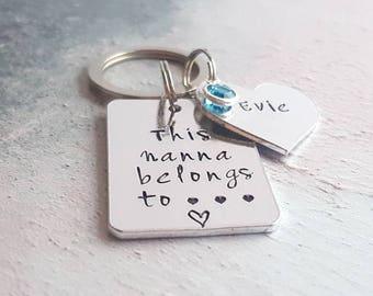 this nanna belongs to keyring, gift for nana, personalised keyring, grandma gift, grandma keyring, nanna keyring, nanna gift, gift for her