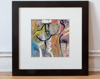 Modern/Contemporary Painting abstract 15/15 cm (5.9/5.9 inch)