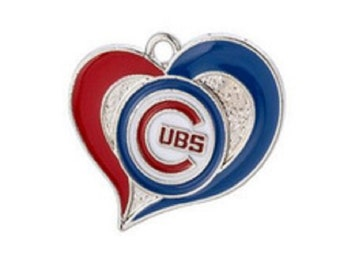 Chicago Cubs Baseball Heart Charms