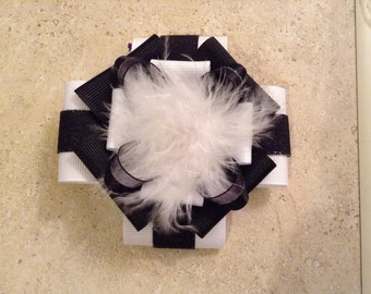 Shimmery Black and White Hair Bow