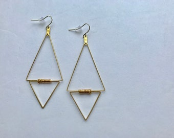Double Triangle Brass Pendant Earrings