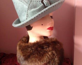 1940's Replica Tilt Hat in  Turquoise Felt.