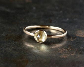 Rose Cut Yellow Sapphire Ring, Unique Engagement Ring, 14k Yellow Gold Band, Diamond Alternative, Eco Friendly Gold, Handmade Jewelry