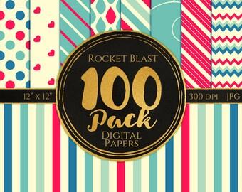 Digital Paper 100 Pack - Rocket Blast Pink and Blue - Commercial Use