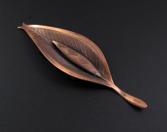 Copper Leaf Brooch, Copper Brooch, Copper Pin, Copper Leaf Pin, Modernist Brooch, Arts and Crafts Brooch