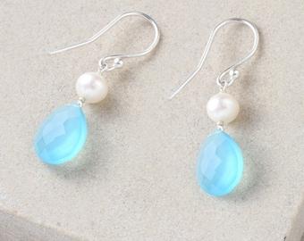 Blue Chalcedony Earrings, White Pearl Earrings, Blue Earrings, Sterling Silver Earrings, Pearl and Chalcedony Earrings
