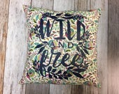 "Pillow 14"" with Wild and Free Silk Screen in Navy"