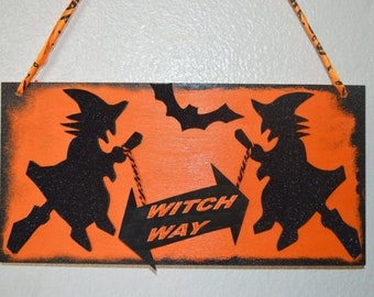 Halloween decor, Halloween witch sign , Halloween sign