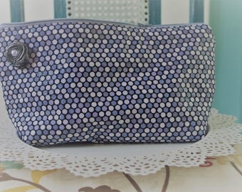 Large Flat Bottom Cosmetic Bag Silver Glitter Dots...The Adelaide Collection