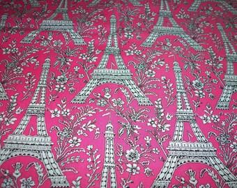 Paris Fabric Eiffel Tower Pink Lots Of Flowers Fat Quarter New BTFQ