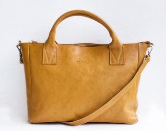 Essential Crossbody Tote in Camel, Leather Crossbody Tote, Camel Leather Bag, Leather Bag, Leather Handbag, Laptop Bag, Book Bag, Camel Bag