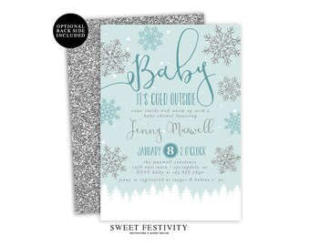 Baby It's Cold Outside Baby Shower Invitation, Printable Invitation, Boy Baby Shower, Snowflake Invitation, Winter Baby Shower, Blue Shower
