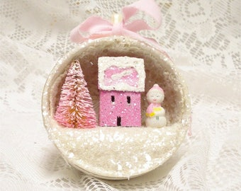 Shabby Chic Pastel Blue Magenta Tea Cup Ornament Putz House