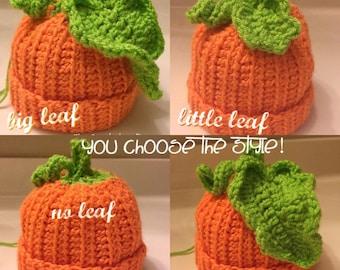 Crocheted pumpkin hat baby/toddler/adult pumpkin costume