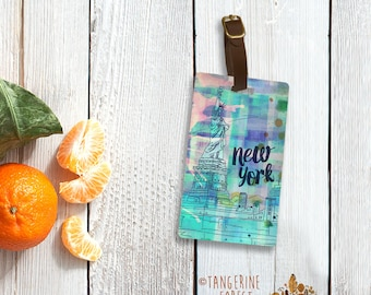 Colorful New York Skyline Personalized Luggage Tag