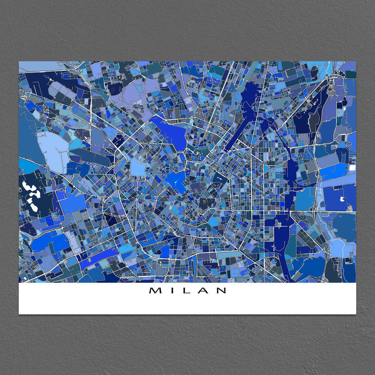 Milan italy milan map art print italian city maps travel description milan map art gumiabroncs Image collections