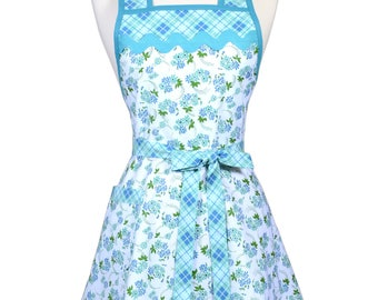 Womens Vintage Apron - Aqua Blue Floral and Plaid Apron - Cute Retro 50s Style Kitchen Apron with Pocket - Over the Head Apron