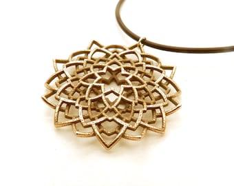Mandala Flower Necklace (3D printed Steel, Bronze or Gold)