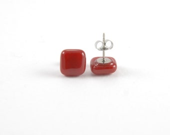 Dark red square stud post earrings, fused glass with surgical steel earring posts, maroon
