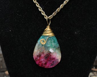 Rainbow Druzy Agate Pendant Wire Wrapped Necklace