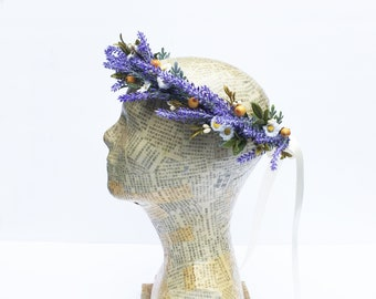 Lavender Bridal Headpiece, Lavender Floral Crown, Lavender Daisy Flower Crown, Rustic Lavender Wedding, Woodland Wedding,  Purple and Yellow