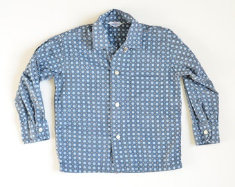 5 Years | Vintage 1950s / 60s Long Sleeve Cotton Button-up Boys Shirt | Blue, White, Tan Geometric Pattern