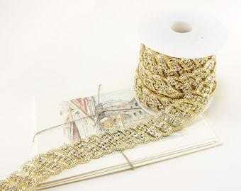 Gold Rhinestone Floral Trim, Rhinestone Chain, Clear Crystal Trim, Rhinestone Applique, 28mm ( 1 Feet Qty)