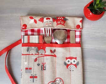 Case pocket for cutlery and napkin, owls, love, very practical, closed with a bow, free shipping